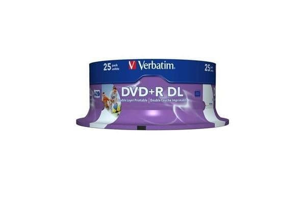 Verbatim 43667 DVD+R DL 8.5GB 25Pk White Wide IJ 8x