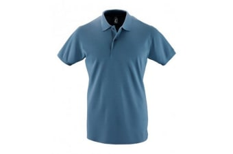 SOLS Mens Perfect Pique Short Sleeve Polo Shirt (Slate Blue) (L)