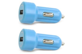 2x Gecko Smart 2.4A USB Car Charger for Smartphones GPS Tablet Dash Camera Blue
