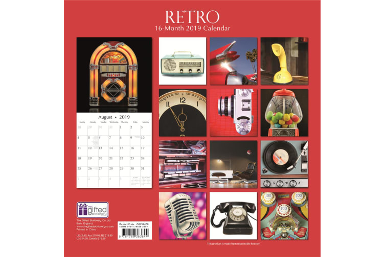 Retro - 2019 Premium Square Wall Calendar 16 Month New Year Christmas Decor Gift