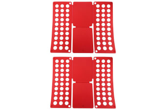2x Magic Garment/Clothes T-Shirt/Blouses Folder/Folding Board Template - Red