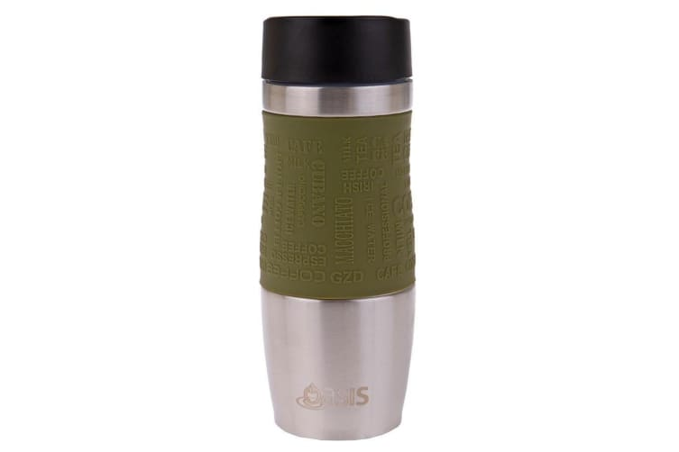 Oasis Cafe 380ml Stainless Steel Insulated Travel Drink Mug Flask Avocado Green