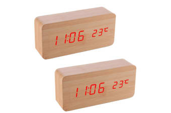 2PK Digital LED Wood Table/Desk USB Alarm Clock w/Date/Temperature/Voice Control