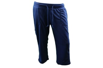 Ladies Womens 3/4 Track Pants Gym Running Shorts Sport Trackies Stretch Pockets - Blue [Size: XS]