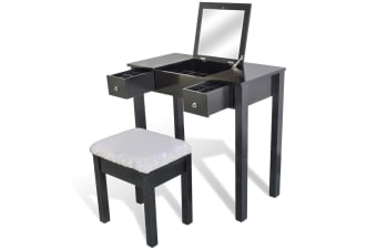 vidaXL Dressing Table with Stool and 1 Flip-up Mirror Black