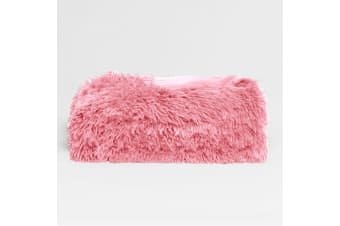 Long Hair Faux Fur Throw Rug Pink by Hotel Living