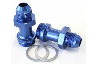 """Aeroflow Holley Inlet Fitting -8AN Blue 7/8"""" X 20 To -8AN Long"""