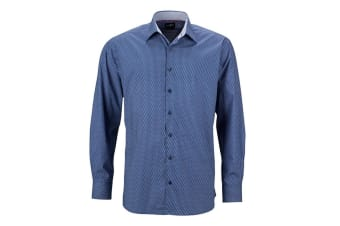 James and Nicholson Mens Classic Fit Wings Shirt (Blue/White) (S)