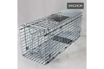 Humane Animal Trap Cage 94 x 34 x 36cm (Silver)