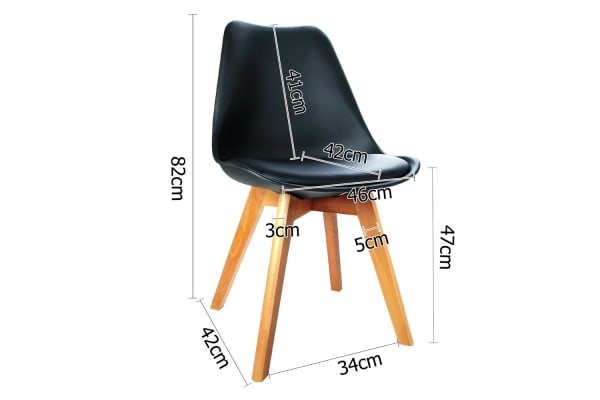 Set of 2 Dining Chair PU Leather Seat (Black)