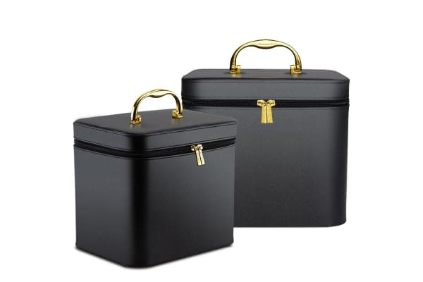 Black 2x Beauty Make Up Cosmetic Case