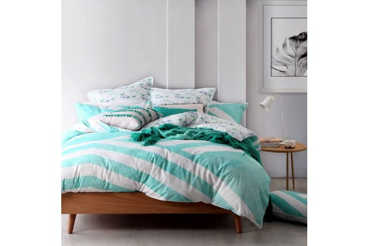 Calippo Teal Quilt Cover Set Queen