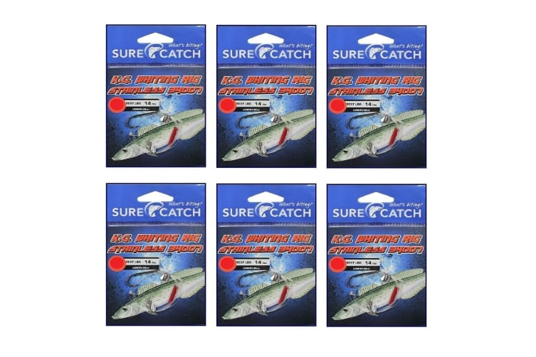 6 Pack of Surecatch King George Whiting Rigs with Stainless Steel 34007 Hookss [Hook Size: 2]