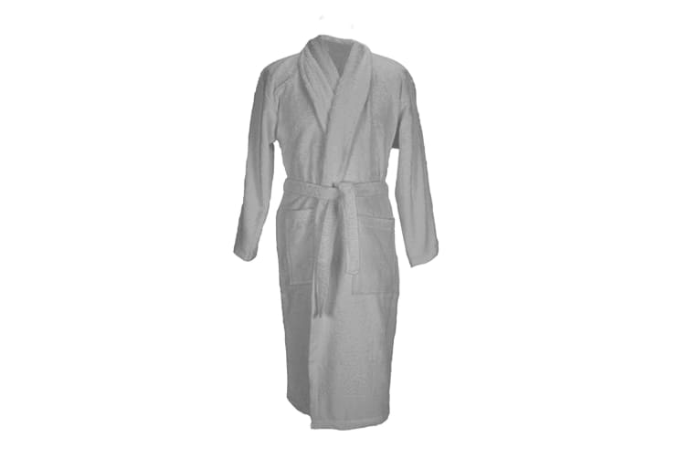 A&R Towels Adults Unisex Bath Robe With Shawl Collar (Anthracite Grey) (S/M)