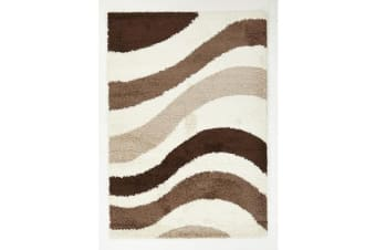 Modern Waves Shag Runner Rug beige, Brown, Taupe