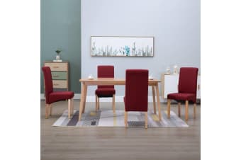 vidaXL Dining Chairs 4 pcs Red Fabric