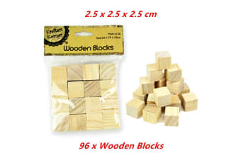 96 x Wooden Blocks Cubes 2.5x2.5cm Wood Maths Puzzle Building Stacking Toy Handcraft