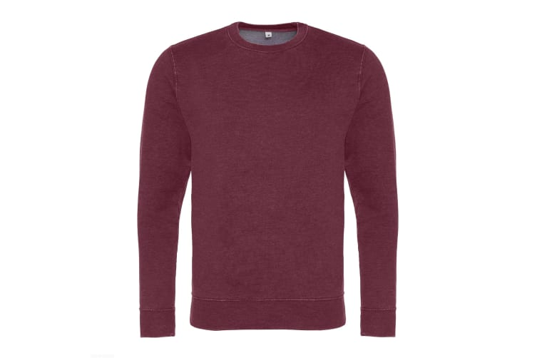 AWDis Hoods Mens Long Sleeve Washed Look Sweatshirt (Washed Burgundy) (2XL)