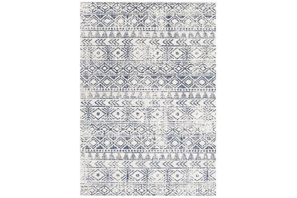 Amelia Blue, Navy & Bone Ivory Coastal Durable Rug 290x200cm