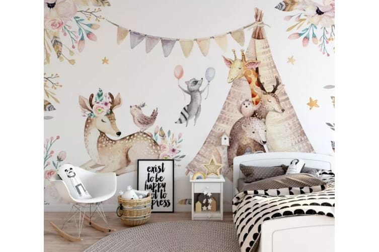 3D Animal Playground 1301 Wall Murals Woven paper (need glue), XXL 312cm x 219cm (WxH)(123''x87'')