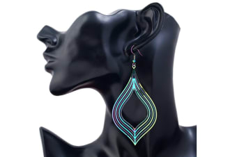 Stylish Retro Style Colorful Computer Films Hollow Diamond Long Drop Earrings Green