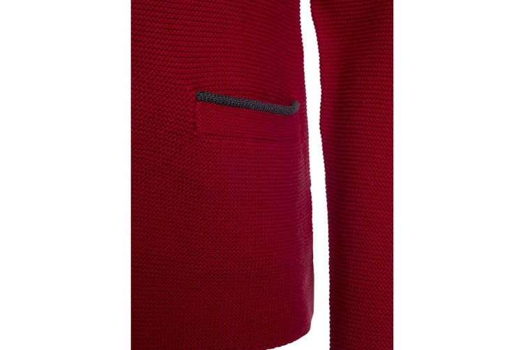 James and Nicholson Mens Traditional Knitted Jacket (Red/Anthracite Melange/Green) (XXL)