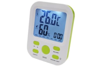 Electronic Digital Thermometer Hygrometer Alarm Clock Lcd Display ?C/F %Rh Green