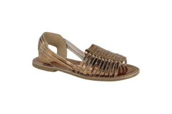 Leather Collection Womens/Ladies Weaved Slingback Sandals (Bronze Leather)