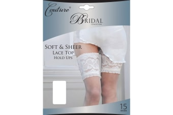 Couture Womens/Ladies Bridal Soft & Sheer Lace Top Hold Ups (1 Pair) (White)