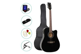 Alpha 41 Inch Electric Acoustic Guitar Wooden Classical Full Size Amp Black