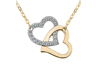 Two Hearts Forever w/Swarovski Crystals-Gold/Clear