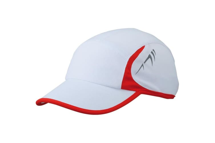 Myrtle Beach Adults Unisex Running 4 Panel Cap (White/Red) (One Size)