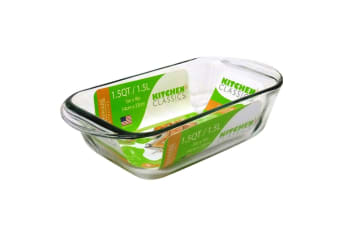 New Kitchen Classics Glass Loaf Pan Tray 1.5L Oven Safe