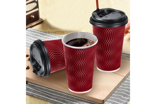 Image of 100x Red Disposable Coffee Cups 16oz Multi Sets