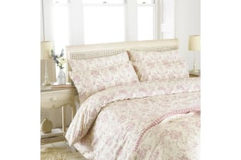 Riva Home Etoille Floral Pattern Duvet Cover Set (200 Thread Count) (Pink) (Single)