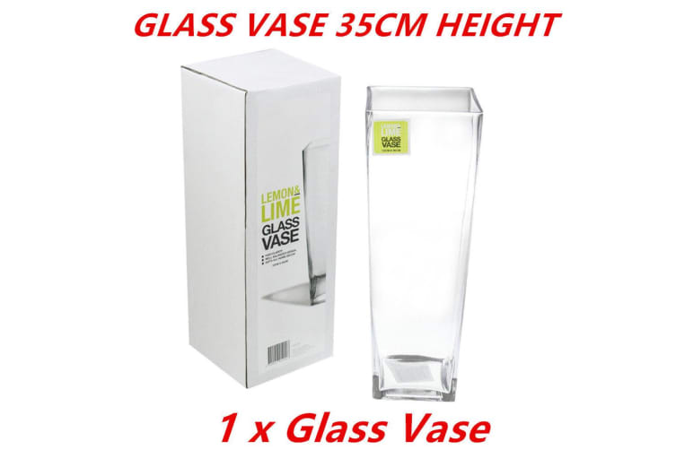 1 x Glass V-Shaped Design Vase Classic Container Flowers Plants Home Decoration