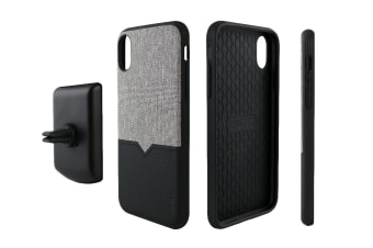 Evutec iPhone XR Northill Case with BONUS AFIX+ Magnetic Car Mount - Canvas/Black