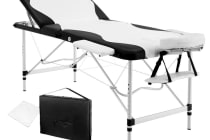 Portable Aluminium 3 Fold Massage Table Chair Bed (Black/White) 75cm