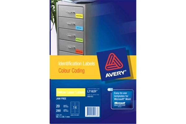 AVERY Laser Label L7163 Yellow Colour Coding 14UP