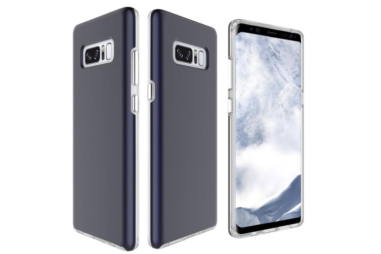 new product 8f4bb 022bd For Samsung Galaxy Note 8 Back Case Chrome Plated Buttons Protective Cover  Navy