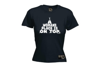 Adrenaline Addict Rock Climbing Tee - A Womans Place Is On Top - (X-Large Black Womens T Shirt)