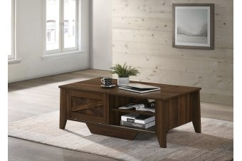 Industrial Style Wooden Coffee Table Dark Wood Sliding Door Storage Cabinet