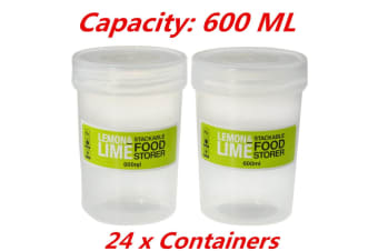 24 x 600ml SCREW TOP Stack-able Plastic Food Storage Container Box Tubs Lid FDFD