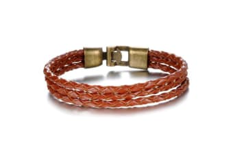 Genuine Leather Wrap Bracelet 10-Leather/Brown