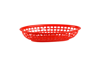 Plastic Oval Bread Basket Small Set 12 - Red
