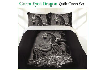 Green Eyed Dragon Quilt Cover Set Single