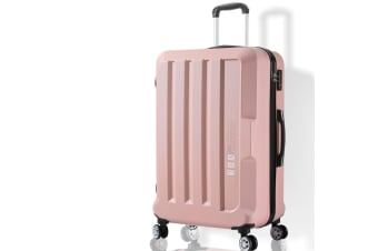 "Luggage TSA Hard Case Suitcase Travel Lightweight Trolley Carry on Bag 24"" Pink"