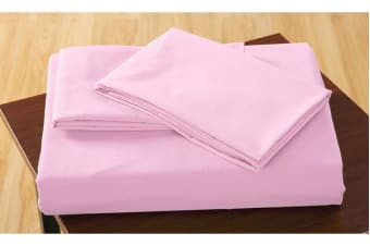 Polyester 2 Piece Bed Fitted Sheet + Pillowcase King Single Pink