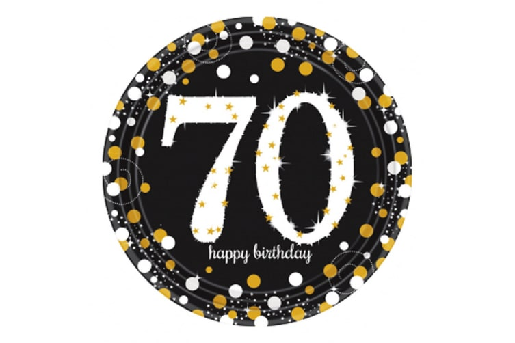 Amscan Sparkling Gold Celebration 70th Birthday Party Plates (Pack Of 8) (Black/Gold) (One Size)