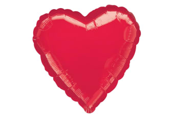 Amscan 18 Inch Plain Heart Shaped Foil Balloon (Red) (One Size)